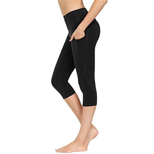 IceUnicorn Damen Sport Leggins Shorts Hohe Taille Tights 3/4 Yogahose Blickdichte Kurz Laufhos Fitness Hosen Jogginghose mit Taschen Short(3/4 Schwarz, XXL)