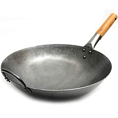 Traditional Hand Hammered Carbon Steel Pow Wok with Bamboo Handle and Steel Helper Handle - 14 Inch, Round Bottom by Chef's Medal