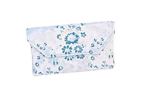 Bolso Clutch/Sobre de tela fallera valenciana blanca con estampado de flores azules y plata.