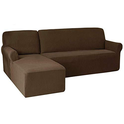 JXJ Stretch Sofa Cover L-Shape, Spandex Jacquard Fabric Sectional Sofa Slipcovers, Anti-Slip Couch Covers (left chaise(3-seat),taupe)