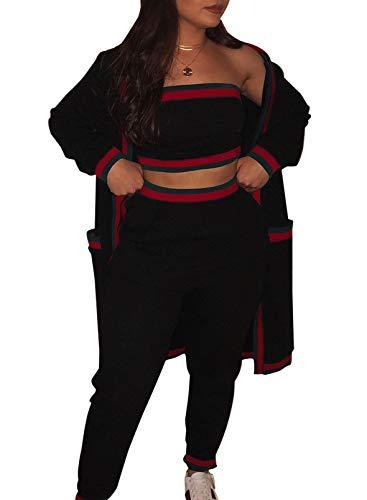 FOBEXISS Conjunto de 3 piezas de pantalones a rayas para mujer con bolsillos de manga larga, cárdigan sin tirantes, pantalones ajustados