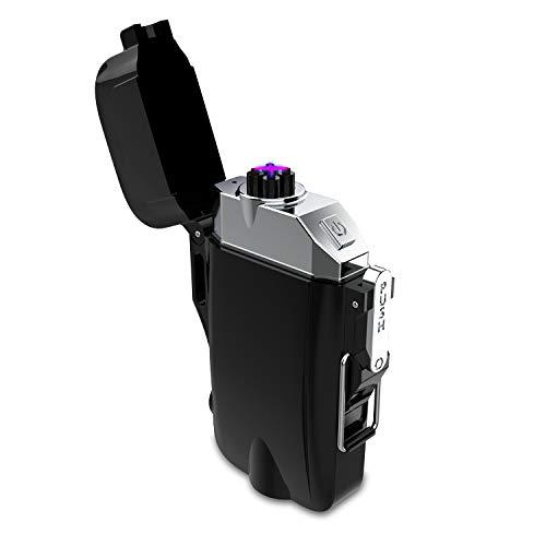 電子ライター多機能 LED懐中電灯 USB充電式 小型 プラズマ放電式 USBライター 懐中電灯付き IP65級防塵 防水 防風 無火炎 誕生日、祝日、プレゼント アウトドアギフト ブラック