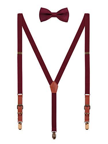 WANYING 2cm Hosenträger Fliege Sets | Retro PU Leder 3 Messingartige Clips Y Form Hosenträger Elastisch Verstellbar für Körpergröße 140-190cm - Bordeaux Rot