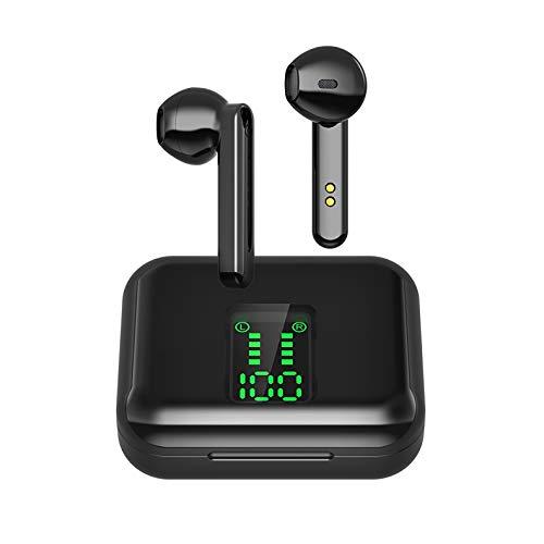 Bluetooth Kopfhörer in Ear Kabellose Kopfhörer, Wireless Ohrhörer mit Hi-Fi Stereo Sound Noise Cancelling Mikrofon IPX5 Sport Headphones 24H Spielzeit Ladekoffer für Kopfhor iPhone/Android/Samsung
