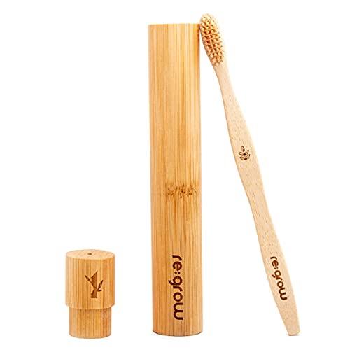 Bambus Zahnbürsten Etui | Zahnbürstenhülle aus Bambus | Reise Hülle | Umweltfreundlich & Biologisch Abbaubar | Vegan und antibakteriell | Regrow
