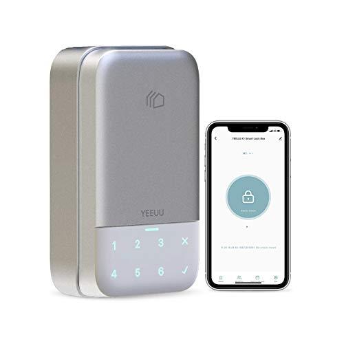 YEEUU K120 スマートロックボックスキー収納 - 不動産管理、Airbnb、レンタルビジネスに最適 - 指紋でロック解除、タッチスクリーンキーパッド、モバイルAPP-Smart Home (シルバー)
