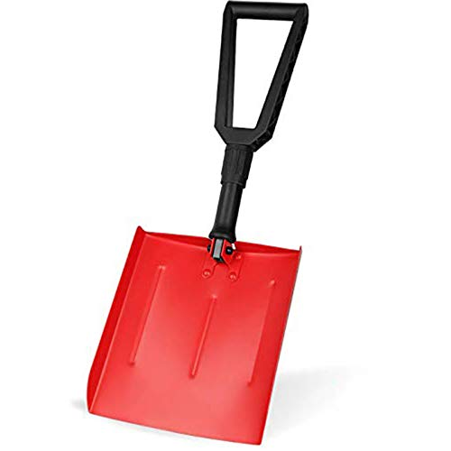 IPSXP Snow Shovel, Folding Emergency Snow Shovel with D-Handle and Aluminum, Rugged Compact Tool for Car, Snowmobiles, or ATV –Winter Survival Gear for Camping - Collapsible Multifunctional - Red