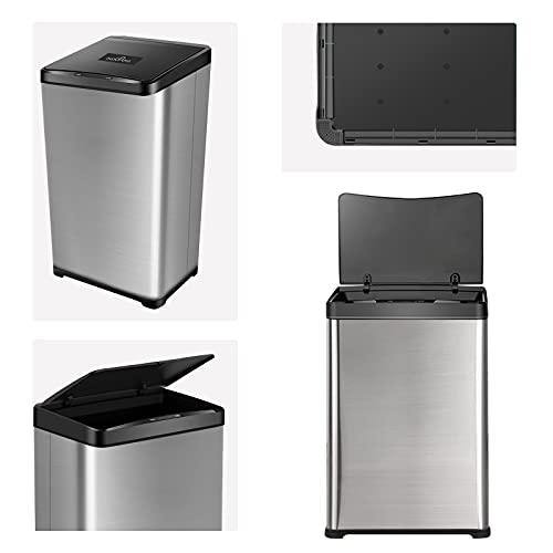 UADCA Poubelle à capteur de 50 l, poubelle de cuisine automa