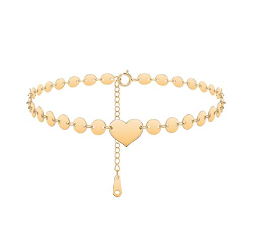 Monily Dainty Heart Coin Anklet S925 Sterling Silver Ankle Bracelet for Women 14K Gold Plated Boho Beach Foot Jewelry