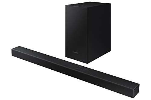 Barra de Sonido SAMSUNG HW-T420 - Sonido 150W, 2.1 Ch, Subwoofer cableado, Dolby Digital 2.1, Bluetooth 4.2 Power On, Game Mode y One Remote Control