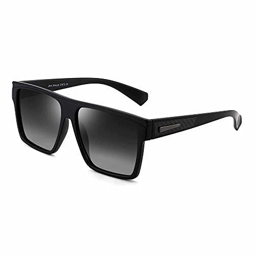 JIM HALO Retro Polarized Sunglasses Men Women Flat Top Square Driving Glasses (Black Frame / Polarized Gradient Grey Lens)