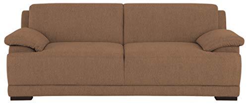 DOMO. collection Telos 3er Boxspringsofa, Sofa mit Boxspringfederung, Zeitlose Couch mit Breiten Armlehnen, braun