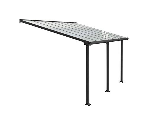 Palram Olympia Terrassenüberdachung 3x4 - Gestell aus Alumiuium & 16 mm Polycarbonat - Terrassendach Für den Ganzjährigen Gebrauch Geeignet, Grau, 425 x 295 x 305 cm, 425x295x305 cm
