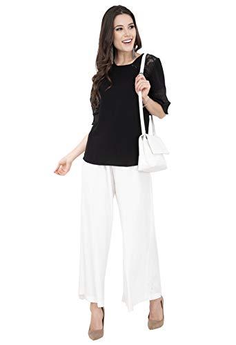 Lagi Women Plazo Plazzo Bottom Wear Ethnic Palazzo Pants Trousers with Kurti Kurtis Kurta S, White(PLZ04F)