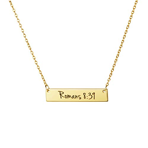 MEMGIFT 18K Gold Christian Bar Necklace Bible Verse Faith Jewelry Baptism Personalized Motivational Birthday Gift for Women Girls Sister