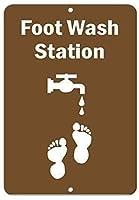 注意サイン-フットウォッシュステーション。 通行の危険性屋外防水および防錆金属錫サイン