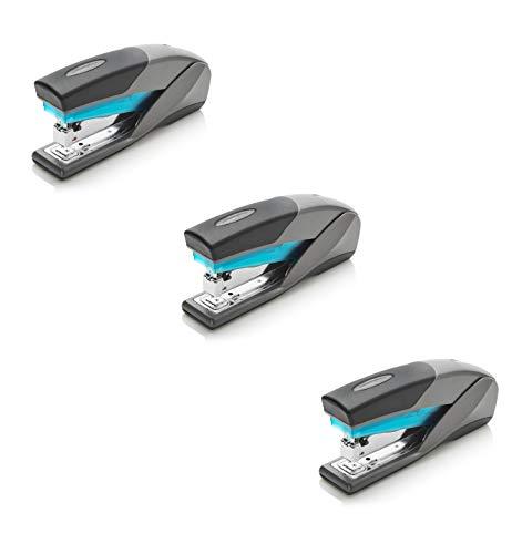 Swingline Stapler, Optima 25, Full Size Desktop Stapler, 25 Sheet Capacity, Reduced Effort, Blue/Gray - Pack of 3