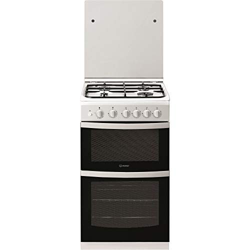 Indesit ID5G00KMWL 50cm Double Cavity Gas Cooker With Lid -...