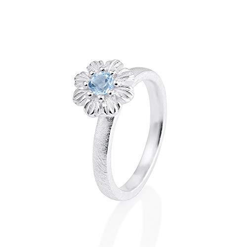 Drachenfels Kleiner Blüten Ring in Echtsilber mit Topas | Kollektion Queen Elisabeth | Eleganter Damenring | Designer-Schmuck | D QL 14-1/AG-58