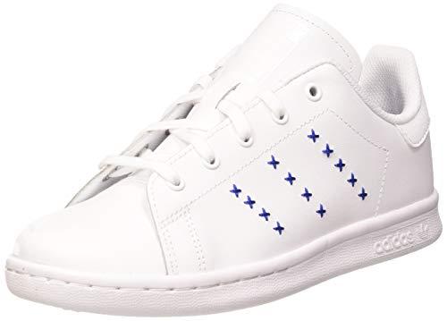 adidas Stan Smith C, Scarpe da Ginnastica, Ftwr White/Ftwr White/Team Royal Blue, 33 EU