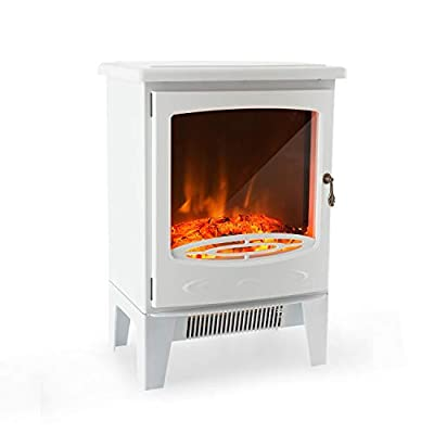 Klarstein Meran Electric Fireplace with Flame Effect - 950 or 1850 W, Stepless Thermostat, InstaFire Without Smoke, Dimmable, Overheating Protection, White