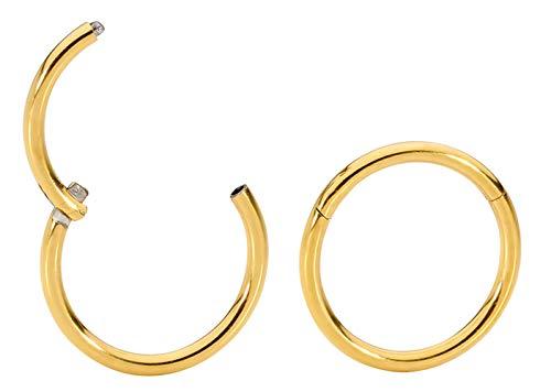 1 Pair Titanium 18G (Thin) Hinged Segment Ring Hoop Sleeper Earrings Body Piercing - 8mm Yellow