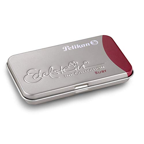 Pelikan 339663 GTP/6 Tintenpatronen Edelstein Ink im Metalletui Ruby, rot