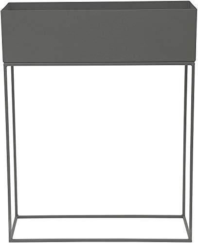 Envy Designer Blumenkasten, Pflanzkasten fürs Wohnzimmer und den Balkon Skandinavisches Design aus Metall grau 55x20x70cm