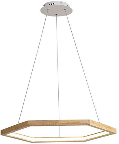 Luci a sospensione a LED Lampada a sospensione design esagonale Dimmerabile Tavolo da pranzo Lampadario in legno Plafoniere semplici in quercia con telecomando Lunghezza cavo regolabile 100 cm pe