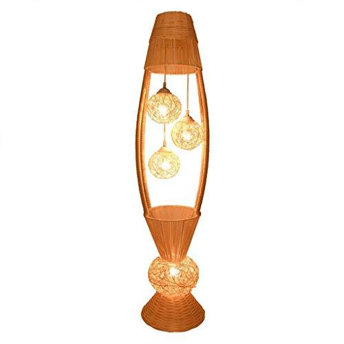 CLJ-LJ Rattan Flor Sombra lámpara de pie Country Style Foyer Bedroom Interior Lighting Lámpara de pie