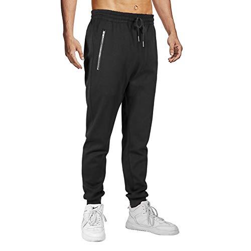 Herren Hosen Jogginghose Slim Fit Jogger Hose mit Reißverschlusstaschen Baumwolle Cargo Hose Sporthose Freizeithose Trainingshose (Schwarz, S)