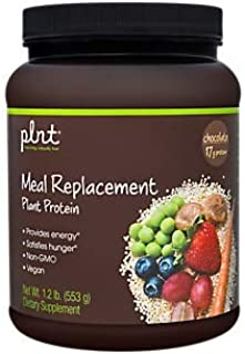 plnt Chocolate Meal Replacement Powder Vegan NonGMO Plant Protein That Provides Energy Satisfies Hunger, 17g of Protein Per Serving (1.2 Pound Powder)