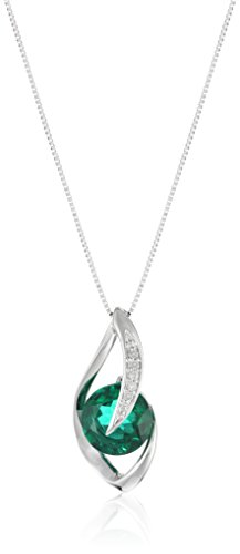 10k White Gold Created Emerald and Diamond Accent Flame Pendant...