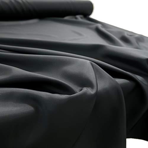 TOLKO 1m matt Glanz Satin | Modestoff Dekostoff Kostümstoff zum Nähen Dekorieren | Gardinenstoff Vorhangstoff Hochzeitsstoff Glitzer Satinstoffe/Nähstoffe Meterware 150cm breit (Schwarz Matt)
