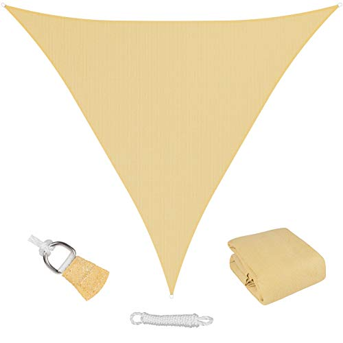 MR. COVER Sun Shade Sail Triangle, 16' x 16' x 16' Sun Blocking Canopy Sail for Patios, Lawn, Porch, Deck, Backyard, Pergola or Outdoor Activities, 95% UV Blockage & Breathable Material, Sand