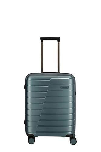 Travelite Air Base Gr. S 55cm Handgepäck inkl. kleine Kulturtasche Hartschalen Reisekoffer 4 Doppelrollen Trolley (Eisblau)
