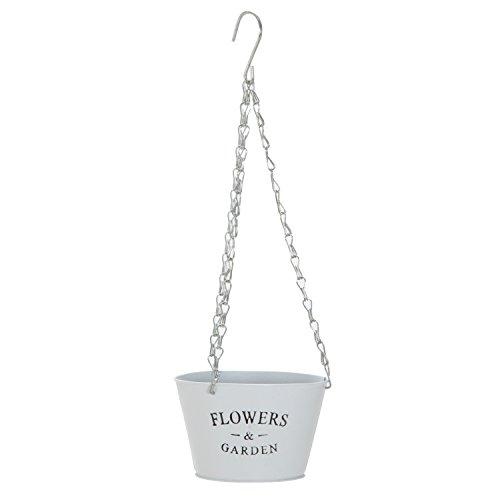 不二貿易鉢カバーSサイズ直径17cmホワイト吊下げ式スチール24081