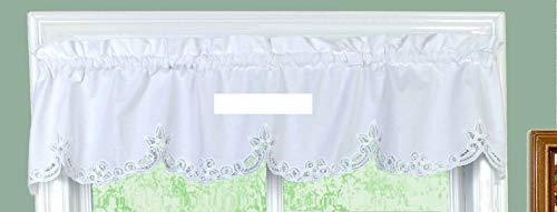 "White Battenburg Lace Kitchen Curtain 14"" L Valance"