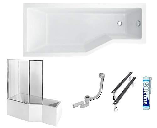 ECOLAM Duschbadewanne Set Badewanne + Badewannenabtrennung Duschwand Eckbadewanne Integra 150x75 cm LINKS Acryl weiß + Schürze Ablaufgarnitur Ab- und Überlauf Automatik Füße Silikon raumsparend