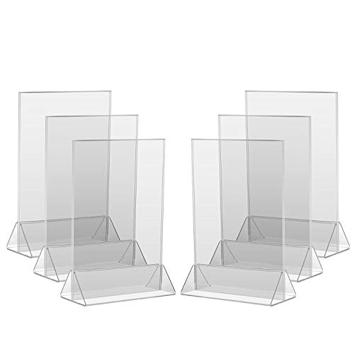 8Pack Acrylic Menu Holder/Upright Sign Holder/Clear Table Card Display/Plastic Photo Frame/Wedding Picture Stand (4x6)