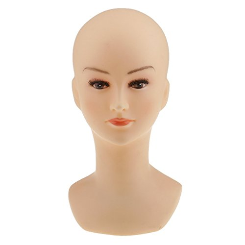 Tubayia Tête de Mannequin Femme PVC Modèle de Tête Presentoir Support pour Perruques Chapeaux