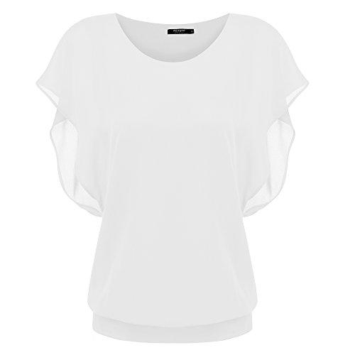 Zeagoo Damen Sommer Casual Loose Fit Kurzarm Fledermaus Batwing T-Shirt Shirt Chiffon Top Bluse, EU 42(Herstellergröße:XL), Weiß