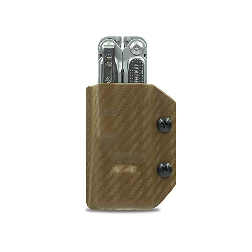 Clip & Carry Kydex Fourreau multifonction pour Leatherman Free P4 – Fabriqué aux États-Unis (outil multifonction non inclus) EDC Étui pour outil multifonction (fibre de carbone marron)