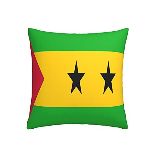 Kissenbezug mit Flagge von Sao Tome und Principe, quadratisch, dekorativer Kissenbezug für Sofa, Couch, Zuhause, Schlafzimmer, Innen- & Außenbereich, 45,7 x 45,7 cm