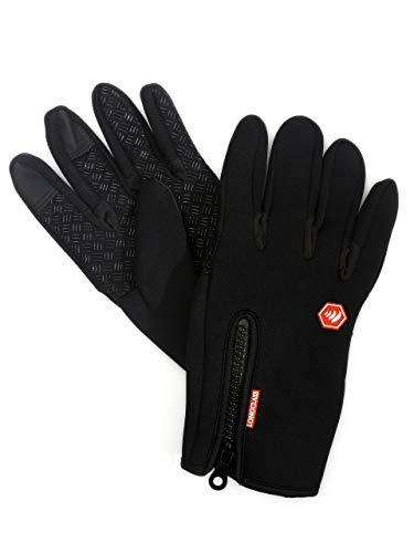 LONGCLASS guanti Nordic Walking ELASTO multifunzionali, presa forte e funzione Touch per Sport invernali, nero/rosso, M