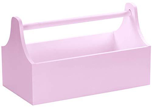LAUBLUST Großer Werkzeugkasten mit Griff - ca. 34x18x20cm, Rosa, FSC® - Werkzeugkiste aus Holz | Geschenk & Dekokasten