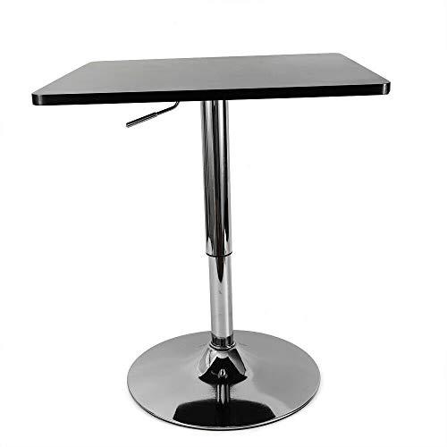 Mesa de bar, mesa de bar, mesa de fiesta, mesa de tablero DM, mesa cuadrada de jardín, mesa de altura regulable, giratorio 360°, mesa para ordenador, escritorio (23,6 x 23,6 x 0,7 cm), color negro