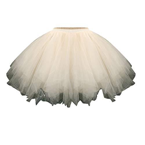 Andouy Damen Petticoat Tutu Tüllrock Unterrock Rock 50er Vintage Ballet Blase Tanzrock Ballkleid(XL.Beige)