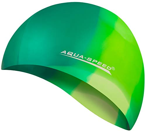 Aqua Speed Badekappe Herren | Silikon | Bademütze | Badehaube | Mehrfarbig + Aufbewahrungstasche Bunt / 63