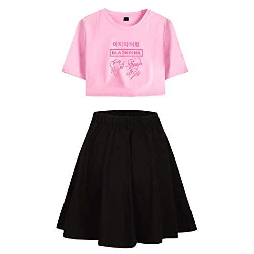 Kpop Blackpink Damen T-Shirt und Röcke 2 Stücke Set Sportwear Kurzarm Crop Tops + Rock Sommer Outfit Aktive Trainingsanzüge Lässige Pyjamas